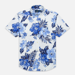 Мужская рубашка Polo Ralph Lauren Custom Fit SS Polo Pony Color Printed Oxford Vintage Hibiscus