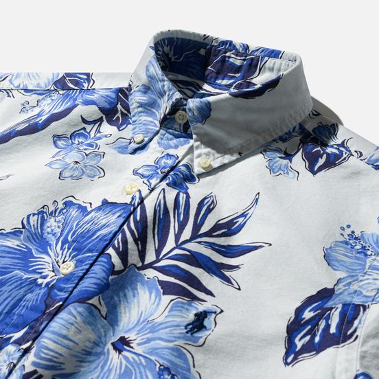 Мужская рубашка Polo Ralph Lauren Custom Fit SS Polo Pony Color Printed Oxford Vintage Hibiscus