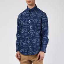 Мужская рубашка Polo Ralph Lauren Custom Fit Printed Oxford Varsity Stamp фото- 2