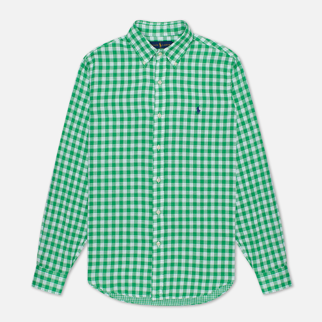 Мужская рубашка Polo Ralph Lauren Double Face Oxford Green/White