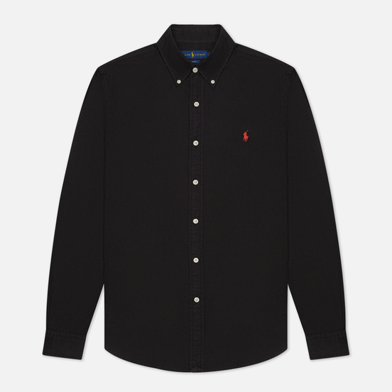 Мужская рубашка Polo Ralph Lauren Garment Dyed Oxford Slim Fit Black