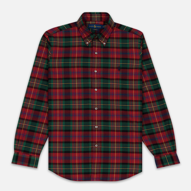 Мужская рубашка Polo Ralph Lauren Light Weight Twill Button Down Firebrick/Green Multi
