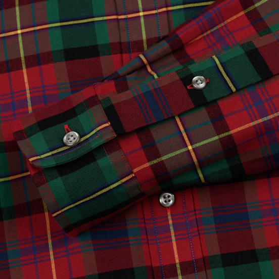 Мужская рубашка Polo Ralph Lauren Light Weight Twill Button Down Firebrick/Green Multi