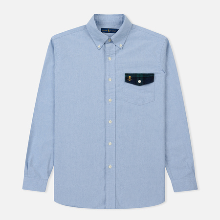 Мужская рубашка Polo Ralph Lauren Logo Scull & Crossbone Pocket Oxford Blue