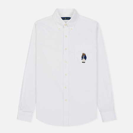 60fad4961dfa138 Мужская рубашка Polo Ralph Lauren Oxford Embroidered Polo Bear Pocket White