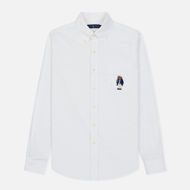 Мужская рубашка Polo Ralph Lauren Oxford Embroidered Polo Bear Pocket White