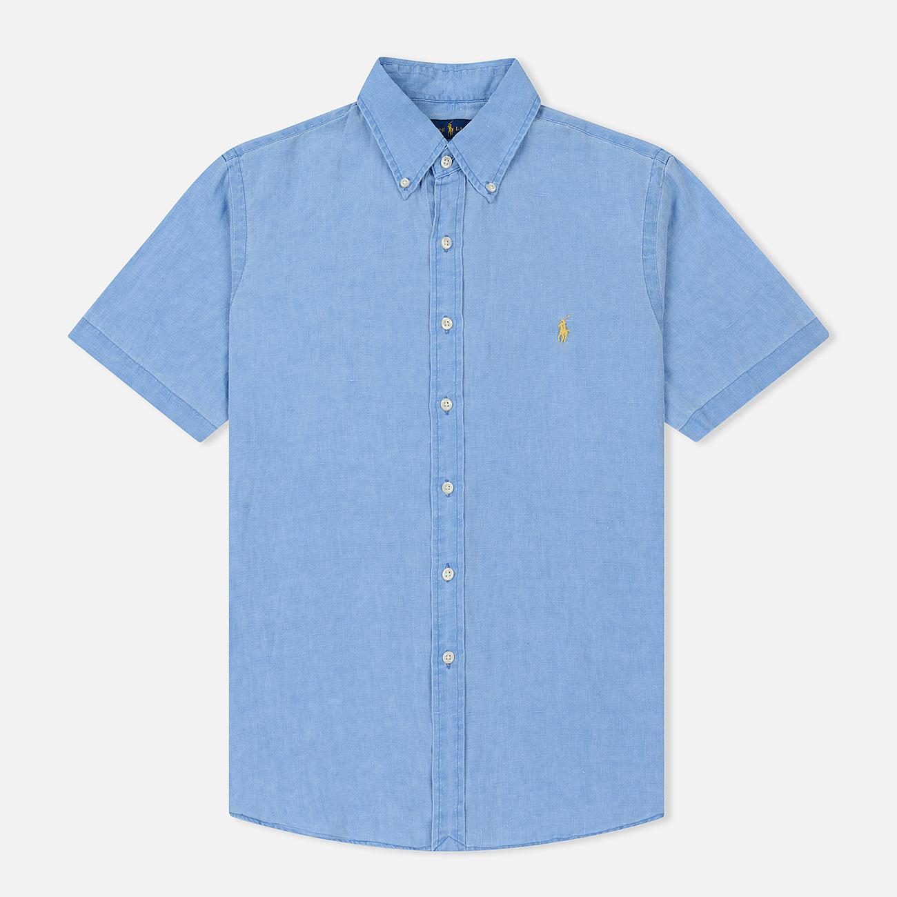 Мужская рубашка Polo Ralph Lauren Oxford Linen Slim Fit Riviera Blue