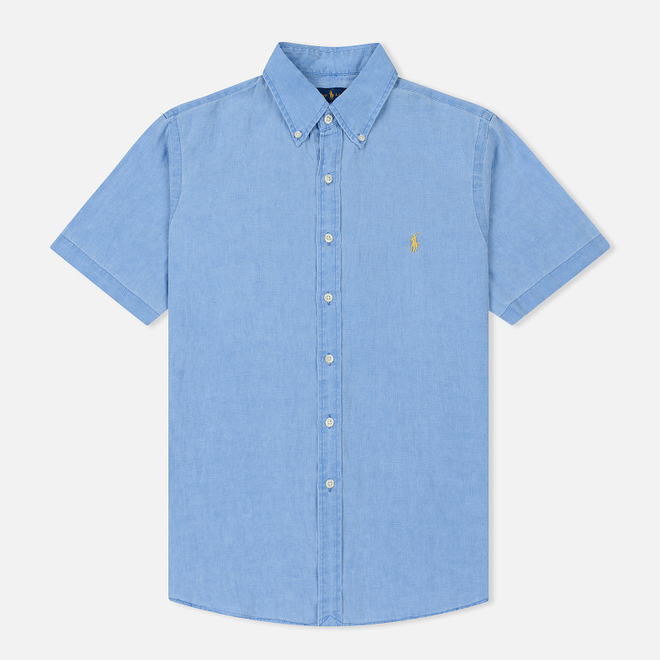 Мужская рубашка Polo Ralph Lauren Oxford Linen Slim Fit Riviera Blue