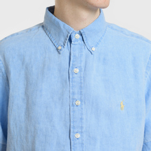 Мужская рубашка Polo Ralph Lauren Oxford Linen Slim Fit Riviera Blue фото- 3
