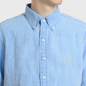 Мужская рубашка Polo Ralph Lauren Oxford Linen Slim Fit Riviera Blue фото - 3