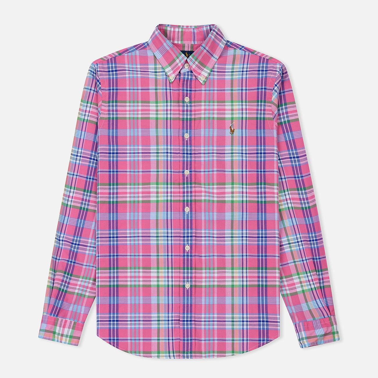 Мужская рубашка Polo Ralph Lauren Oxford Plaid Horizon Pink/Blue Multi