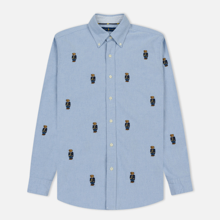 Мужская рубашка Polo Ralph Lauren Oxford Sport Embroidered All Over Bear Blue