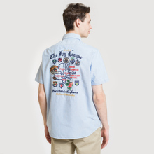 Мужская рубашка Polo Ralph Lauren Oxford Sport SS Embroidered Inscription Blue Tour Art фото- 3