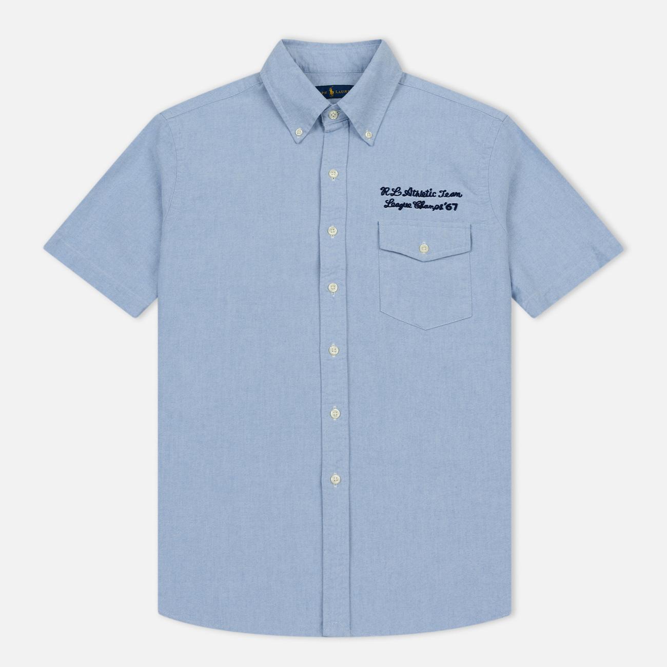 Мужская рубашка Polo Ralph Lauren Oxford Sport SS Embroidered Inscription Blue Tour Art