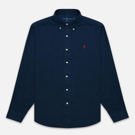 Мужская рубашка Polo Ralph Lauren Piece Dye Linen Newport Navy