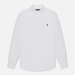 Мужская рубашка Polo Ralph Lauren Piece Dye Linen White
