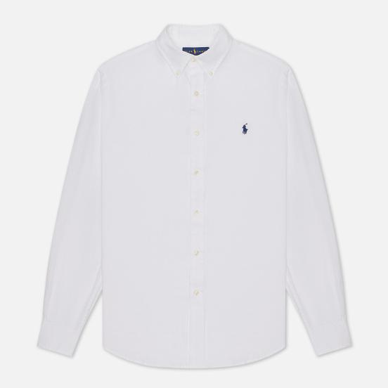 Мужская рубашка Polo Ralph Lauren Piece Dye Linen White