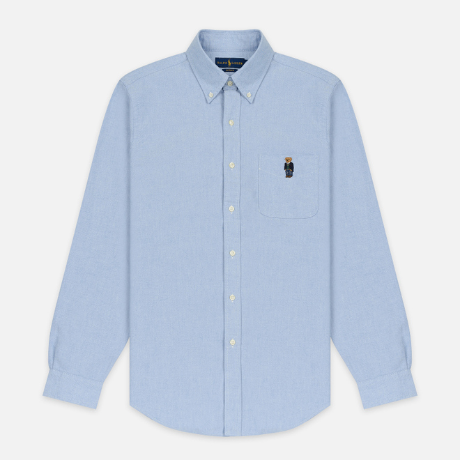 Мужская рубашка Polo Ralph Lauren Polo Bear Embroidered Pocket Oxford Blue