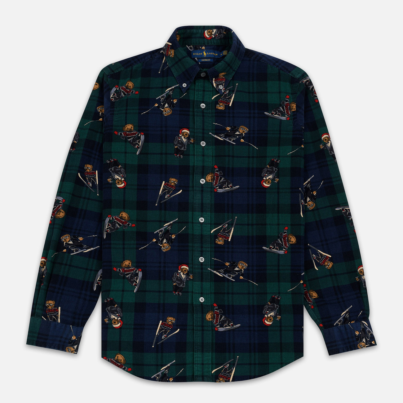 Мужская рубашка Polo Ralph Lauren Printed Corduroy Button Down Blackwatch Bears