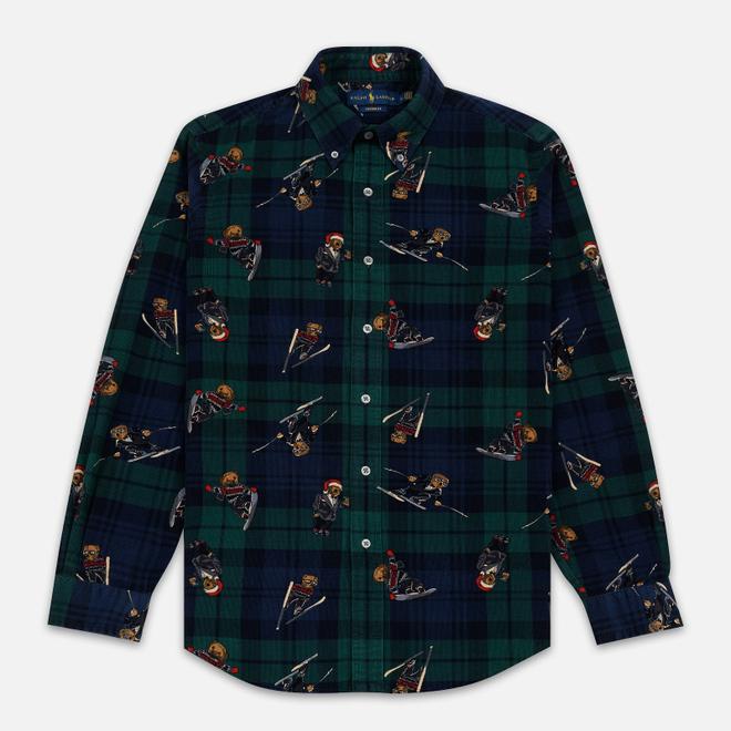Мужская рубашка Polo Ralph Lauren Printed Corduroy Button Down Blackwatch Bears