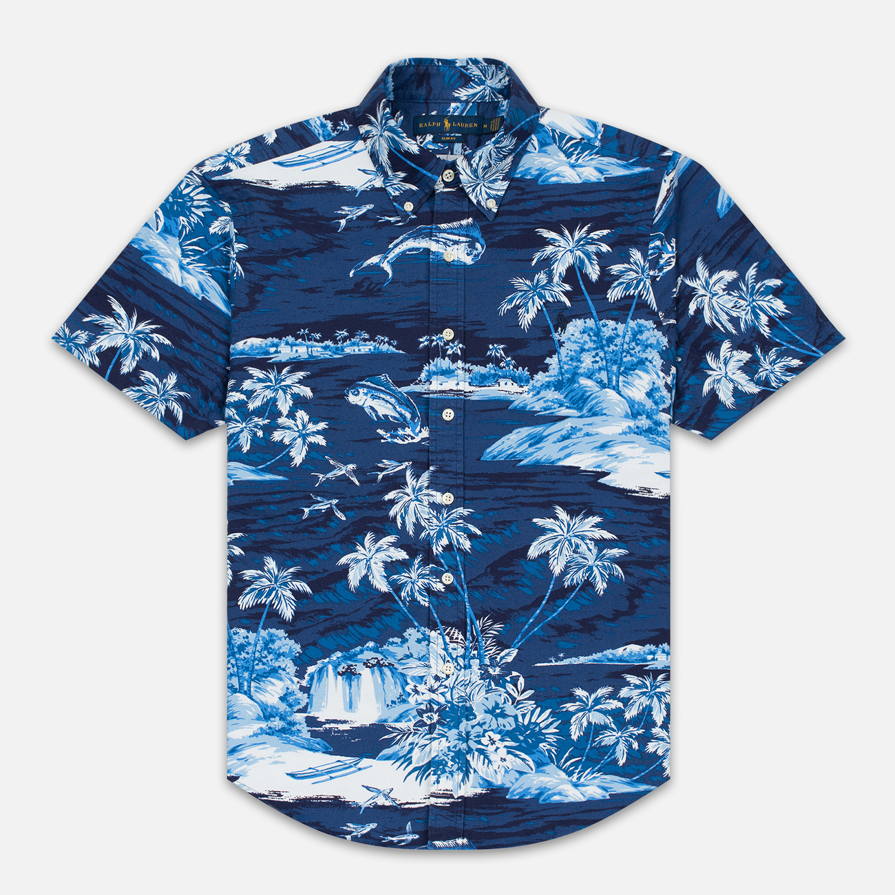 Мужская рубашка Polo Ralph Lauren Slim Fit Button Down Polo Pony Printed Oxford Flying Fish