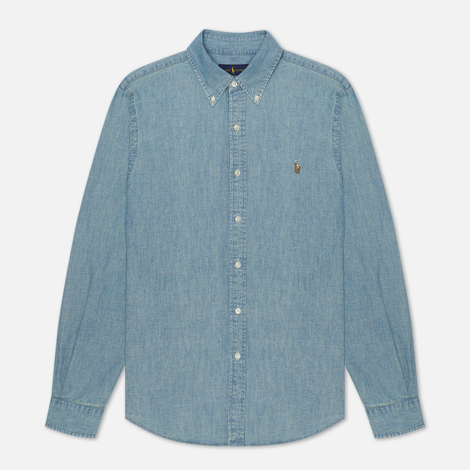 Мужская рубашка Polo Ralph Lauren Slim Fit Chambray Light Indigo