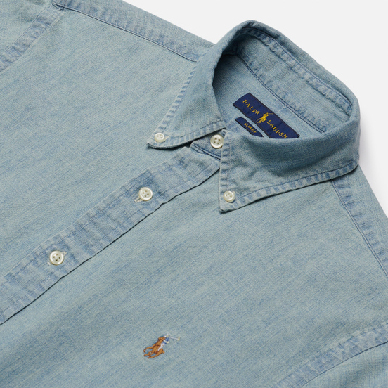 Мужская рубашка Polo Ralph Lauren Slim Fit Chambray Light Indigo