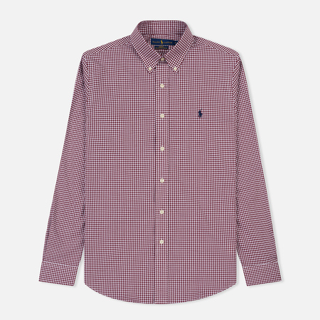 Мужская рубашка Polo Ralph Lauren Slim Fit Gingham Poplin Burgundy/White