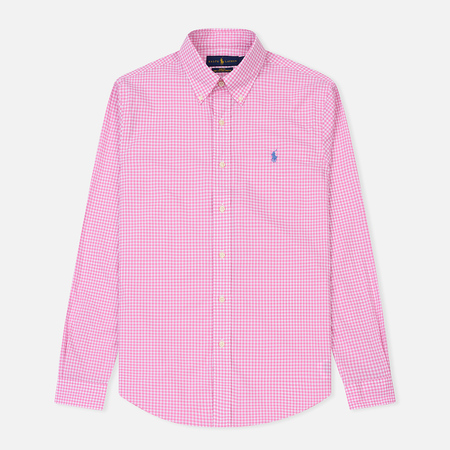 Мужская рубашка Polo Ralph Lauren Slim Fit Natural Stretch Poplin Pink/White