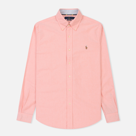 Мужская рубашка Polo Ralph Lauren Slim Fit Oxford Embroidered Logo Salmon/White