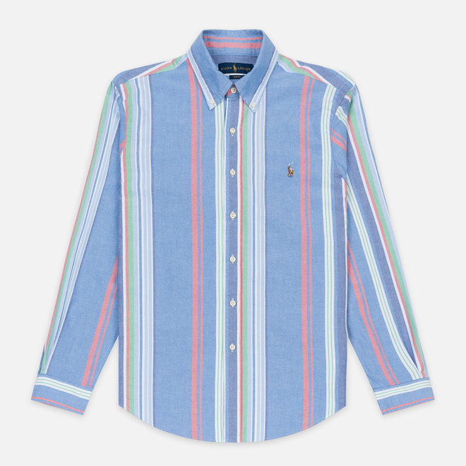 Мужская рубашка Polo Ralph Lauren Slim Fit Polo Pony Color Mini Logo Oxford Blue/Red Multi Stripe