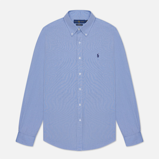 Мужская рубашка Polo Ralph Lauren Slim Fit Stretch Poplin Blue
