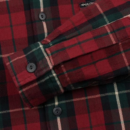 Мужская рубашка Polo Ralph Lauren Twill Plaid Elbow Patch Lamb Suede Vibe Red/Tan Multi