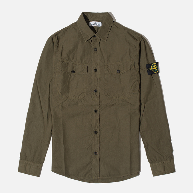 Мужская рубашка Stone Island Garment Dyed Military Green
