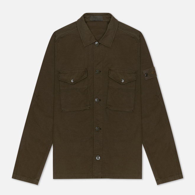 Мужская рубашка Stone Island Ghost Piece Overshirt Military Green