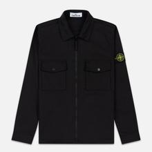 Мужская рубашка Stone Island Regular Fit Canvas Cotton Blend Zip Black фото- 0
