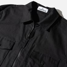 Мужская рубашка Stone Island Regular Fit Canvas Cotton Blend Zip Black фото- 1