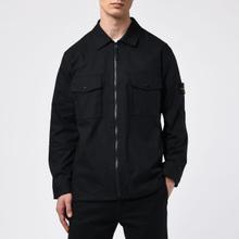 Мужская рубашка Stone Island Regular Fit Canvas Cotton Blend Zip Black фото- 4