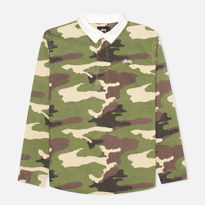 Stussy Twill Rugby Men's Shirt Camo