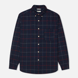 The Hill-Side Brushed Indigo Flannel Button-Down Men's Shirt Narrow Check photo- 0