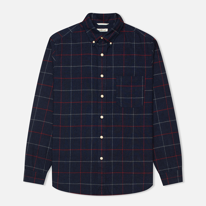 The Hill-Side Brushed Indigo Flannel Button-Down Men's Shirt Narrow Check