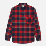 Мужская рубашка The Hill-Side Brushed Indigo Flannel Button-Down Wide Check фото- 0