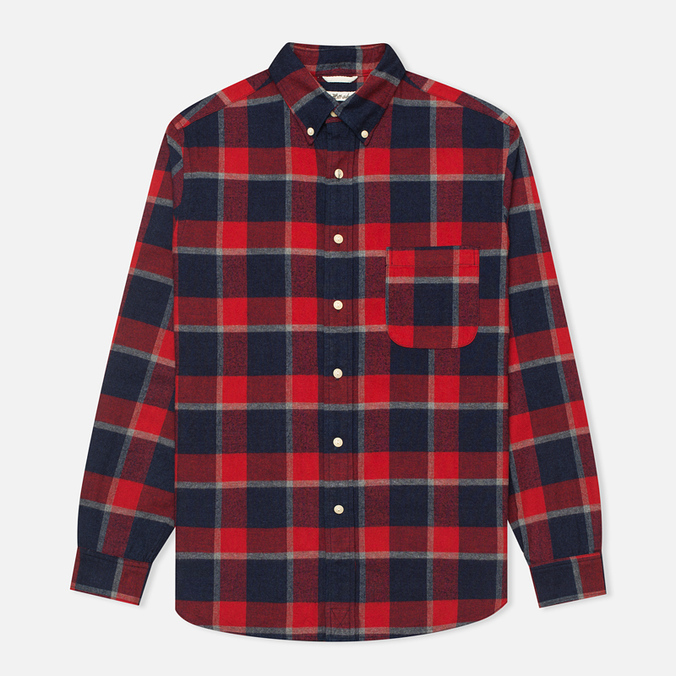 Мужская рубашка The Hill-Side Brushed Indigo Flannel Button-Down Wide Check