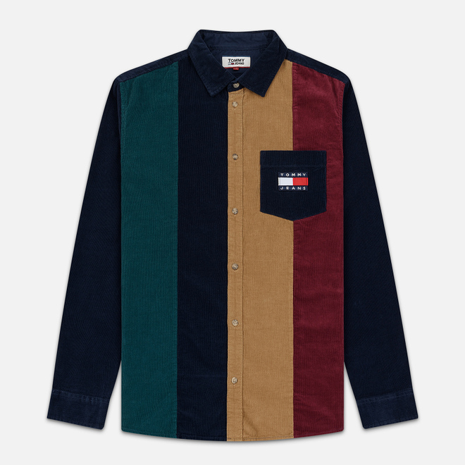 Мужская рубашка Tommy Jeans Colorblock Corduroy Black Iris/Multicolor
