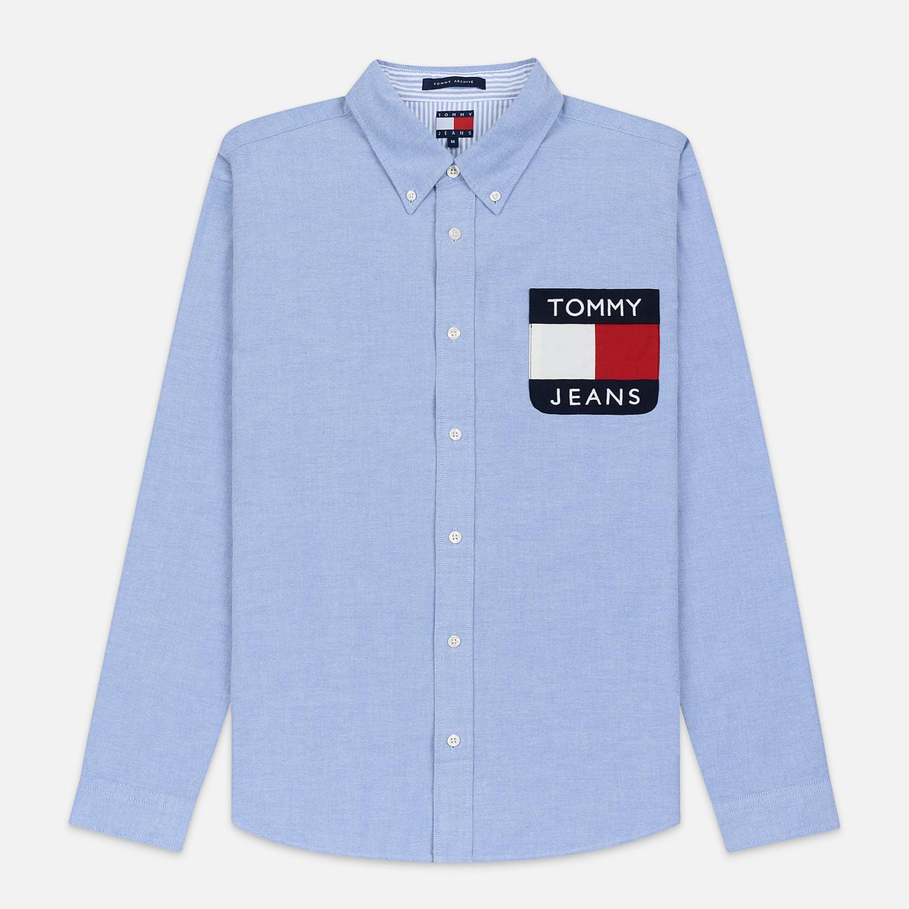 Мужская рубашка Tommy Jeans Flag Denim Blue Chambray