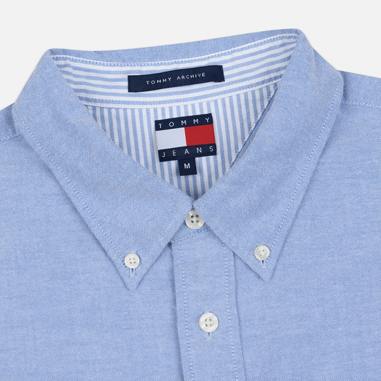 Мужская рубашка Tommy Jeans Flag Denim Blue Chambray