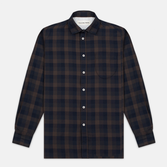 Мужская рубашка Universal Works Classic Urban Neck Navy/Brown