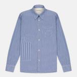 Universal Works Patch Fine Men's shirt Stripe Blue photo- 0