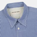 Universal Works Patch Fine Men's shirt Stripe Blue photo- 1