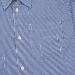Universal Works Patch Fine Men's shirt Stripe Blue photo- 2